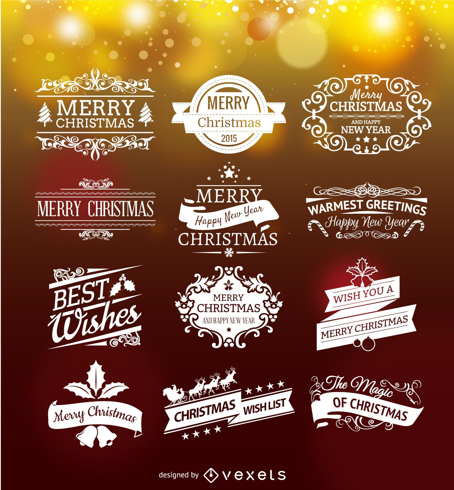 Set of Christmas emblems