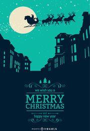 Weihnachtsskyline mit Santa Crossing Himmel