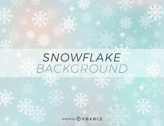 Fondo de invierno de copos de nieve brillante