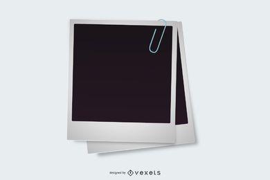 Mit Büroklammer versehene Polaroidrahmen