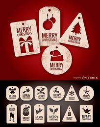 Weihnachtsmarken und Etiketten