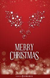 Muérdago de Navidad sobre fondo rojo