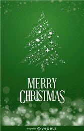 Weihnachtspostkarte mit Kiefer