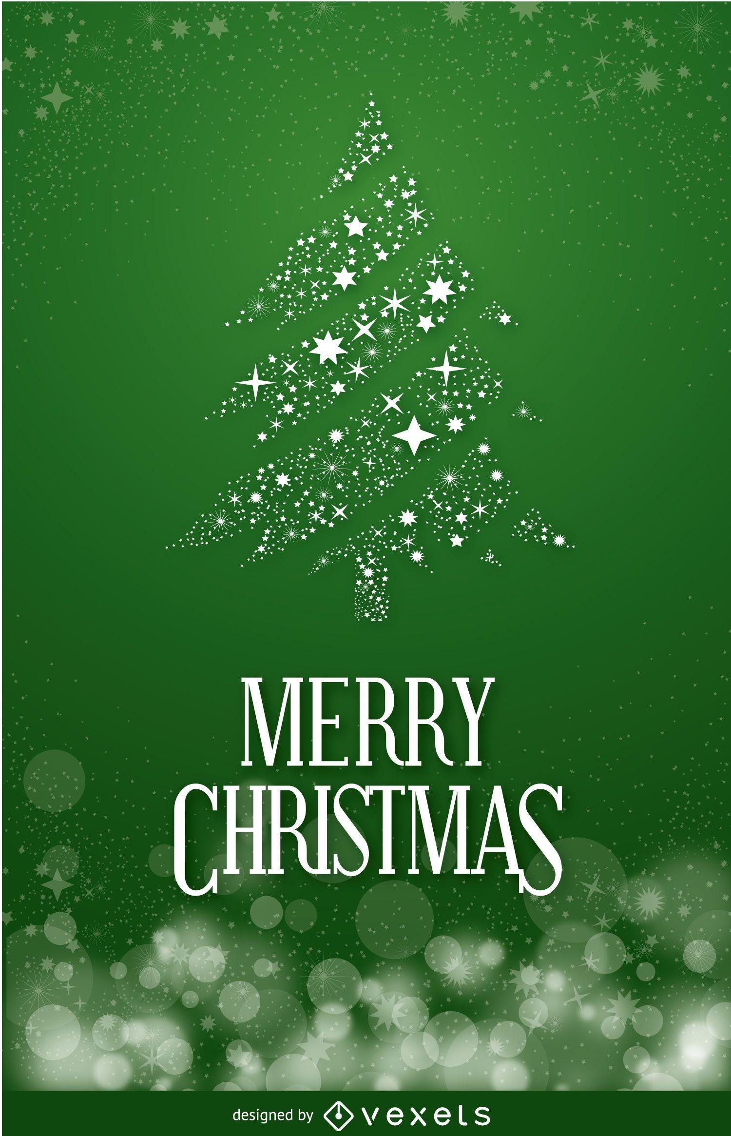 Christmas postcard with pine tree