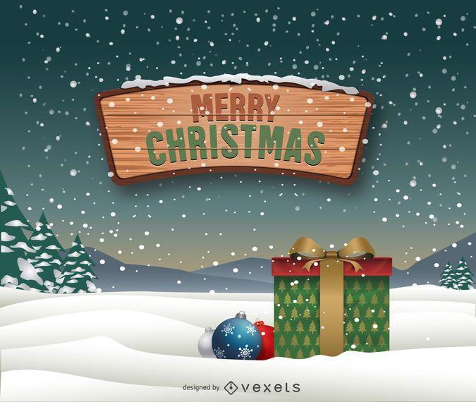 Frohe Weihnachten Download.Frohe Weihnachten Schneelandschaft Vektor Download