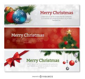 Conjunto de 3 banners de navidad.