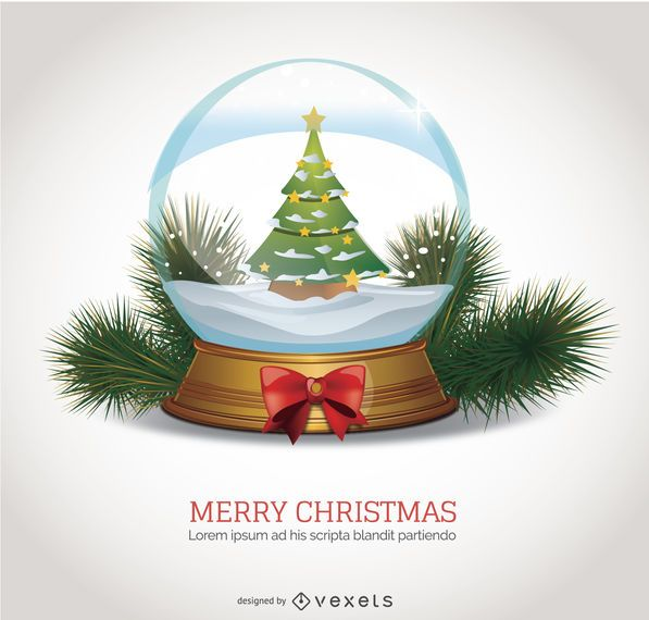 Christmas In Evergreen Snow Globe.Christmas Snow Globe Isolated Vector Download