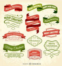 Etiquetas navideñas y distintivos.