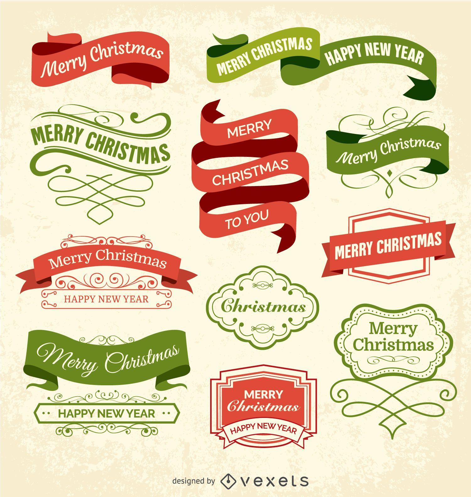 Etiquetas e insignias navideñas