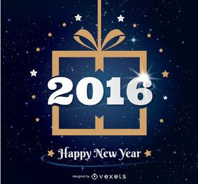 Design de presente de ano novo de 2016