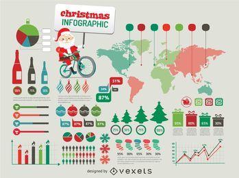 Elementos de infografía de Navidad