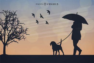 Menina segurando guarda-chuva com cachorro