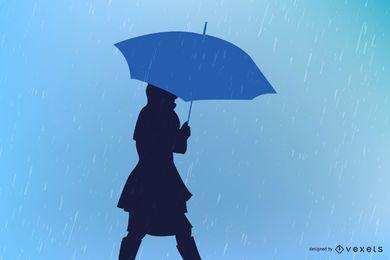 Chica con paraguas lloviendo palabras