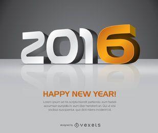2016 letras grandes do ano novo 3D