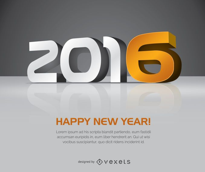 2016 año nuevo 3D letras grandes