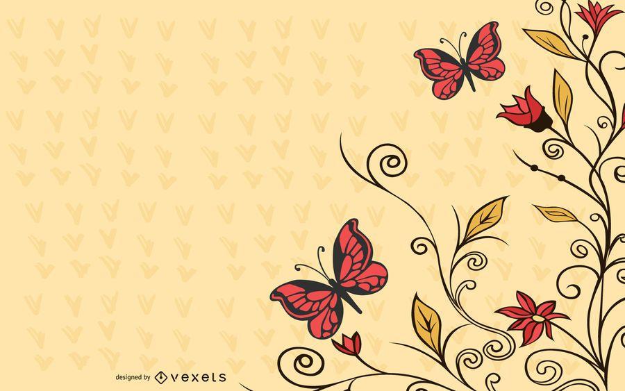 Swirling Corner Butterflies Blue Background