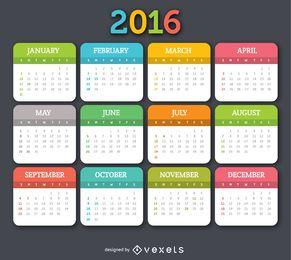 2016 colorido do calendário
