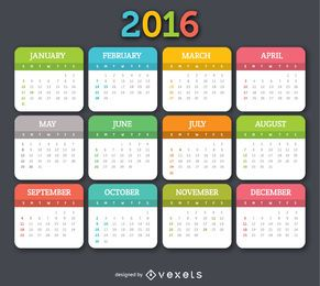 Calendário colorido de 2016