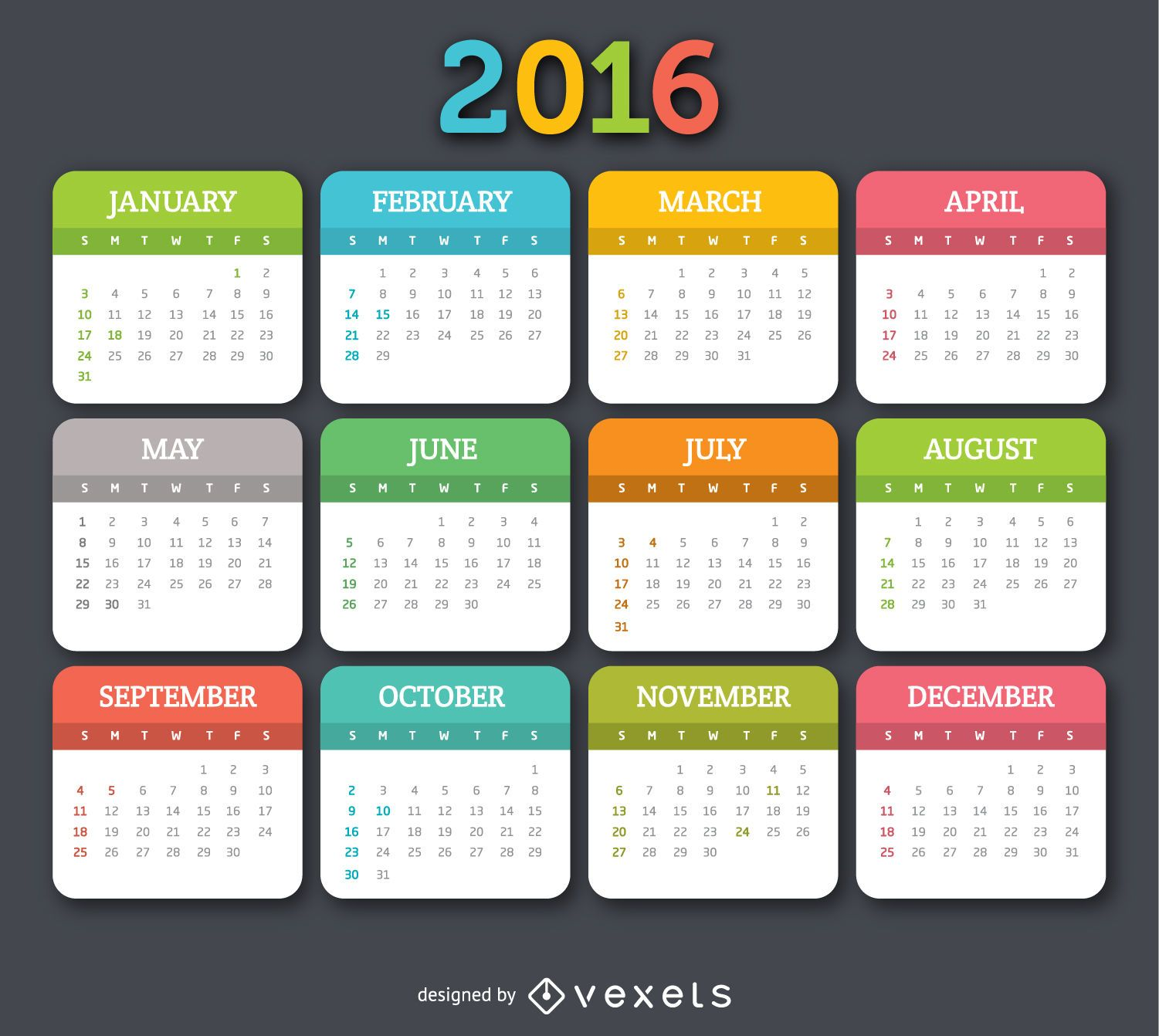 2016 colorful calender