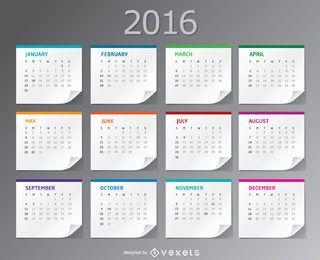 Calendário 2016 folhas de papel de mesa