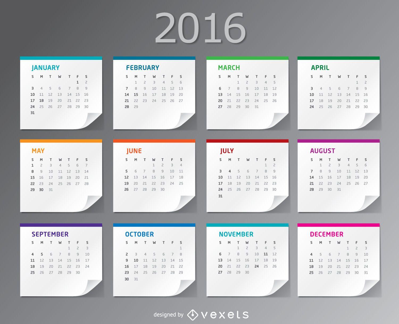 2016 paper sheets desktop Calendar