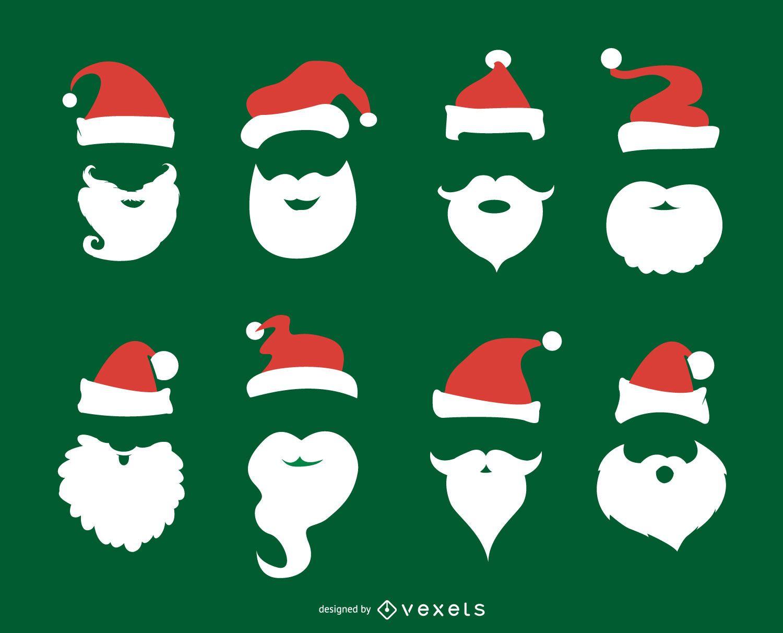 Conjunto de barba e chap?u de Papai Noel