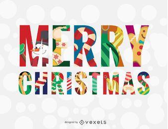 Mensaje colorido de feliz navidad