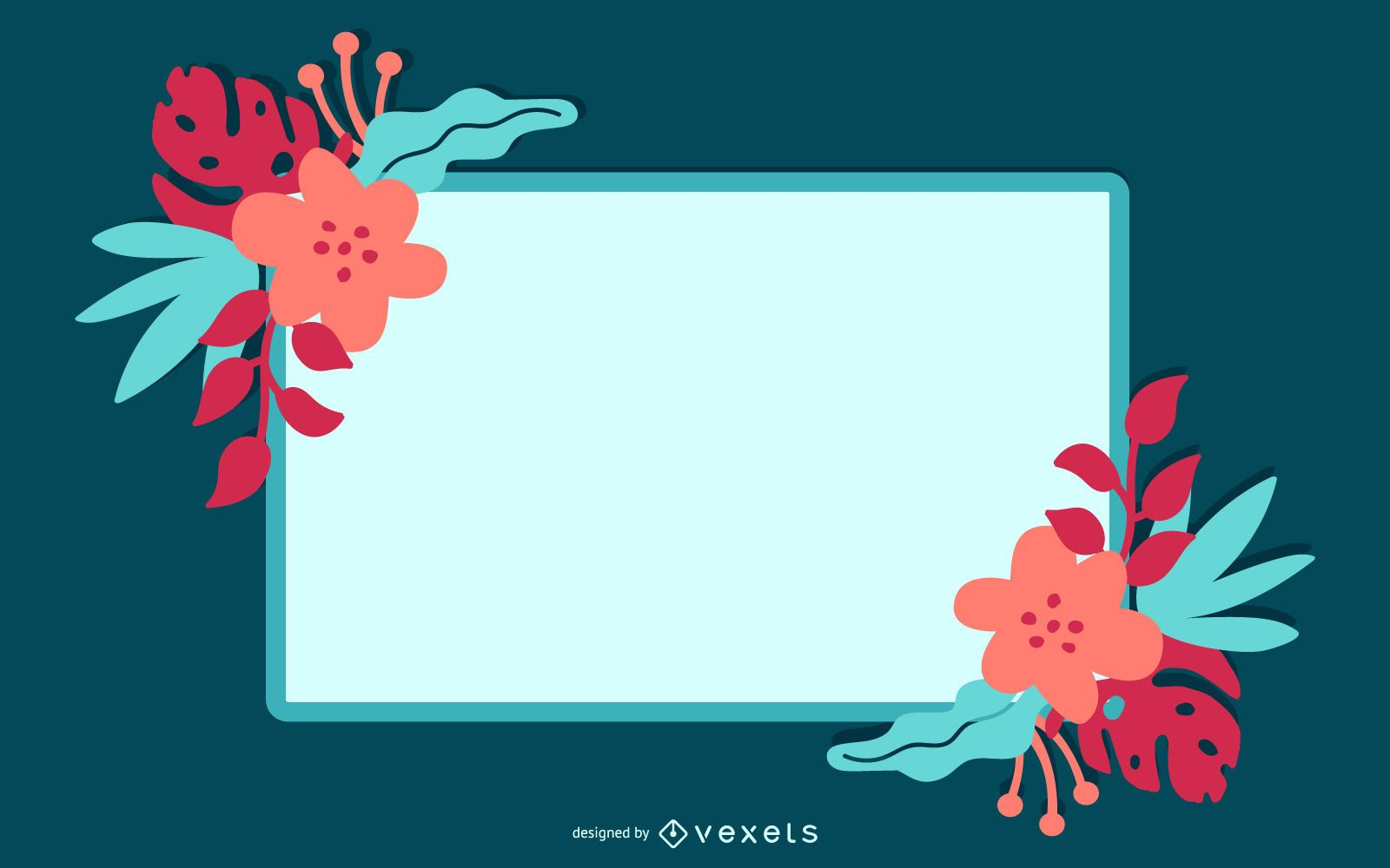 Swirling Floral Frame Turquoise Banner
