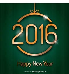 2016 neues Jahr innerhalb der Weihnachtskugel
