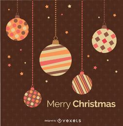 Christmas Balls over Brown retro background