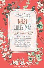 Postal de design floral de Natal