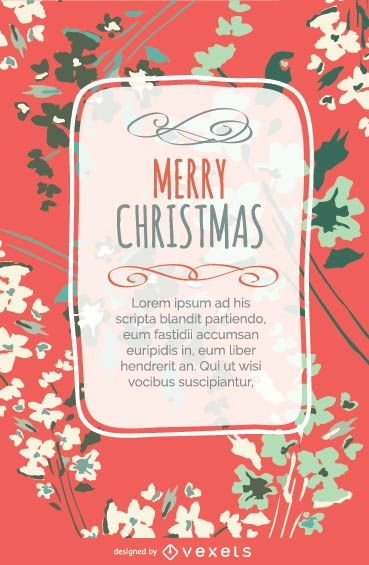 Floral Christmas design postcard