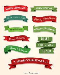 10 Merry Christmas ribbon set