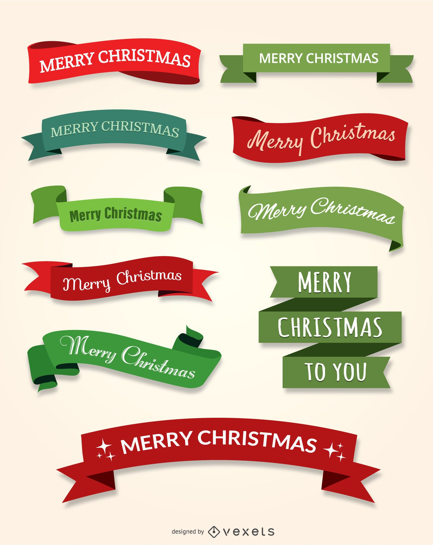 10 Merry Christmas ribbon set - Vector download