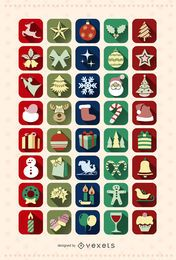 40 Christmas icon Set
