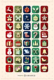 40 Weihnachts-Icon-Set