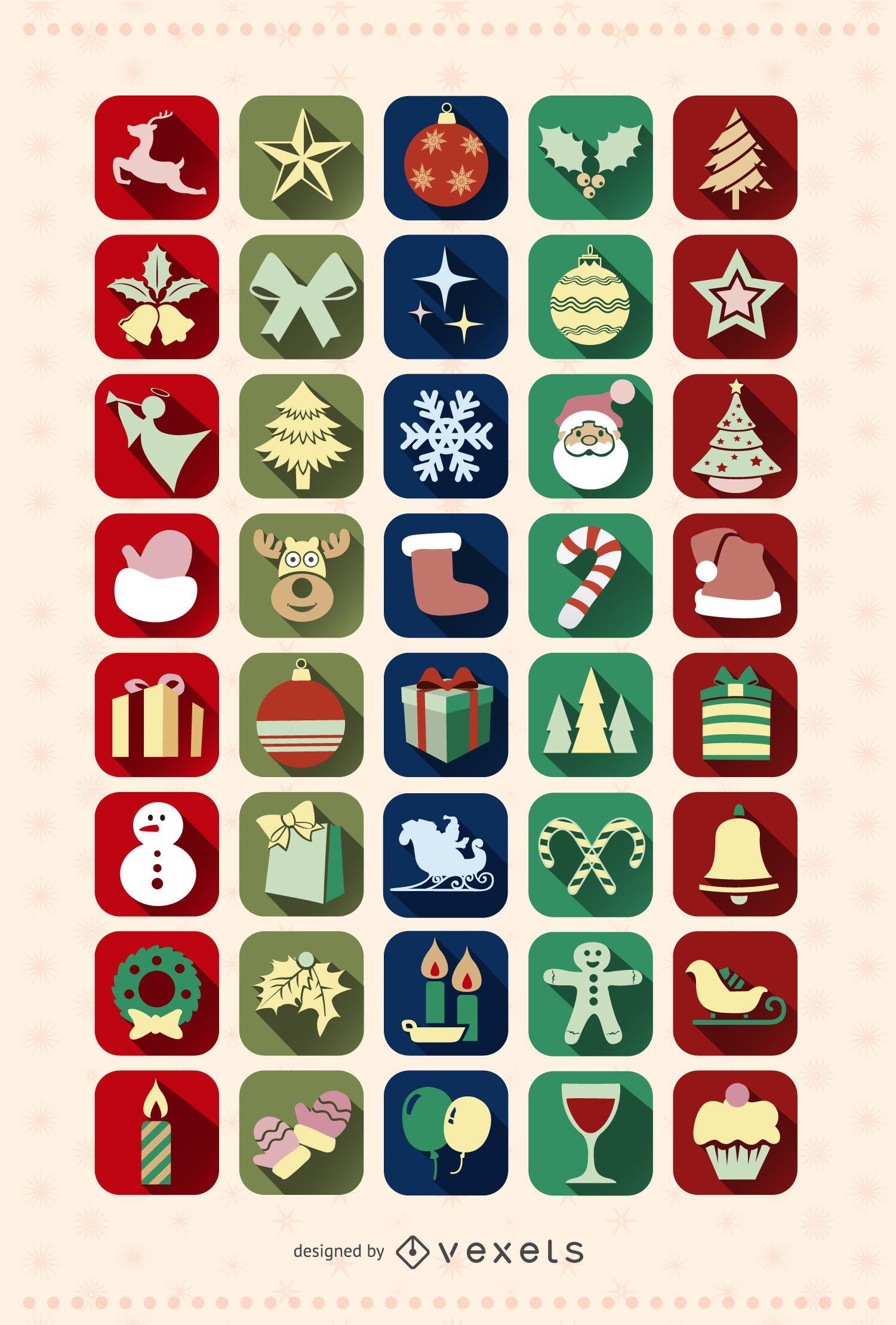 40 Christmas icon Set