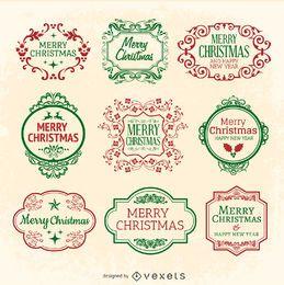 Conjunto de sello de emblema de Navidad