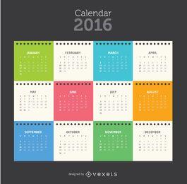 Calendário de folha de bloco de notas colorido 2016 tempalte