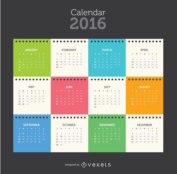 2016 tempalte colorido do calendário da folha do bloco de notas