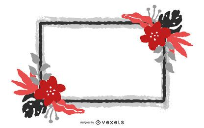 Bandeira de flor vermelha quadrada grungy