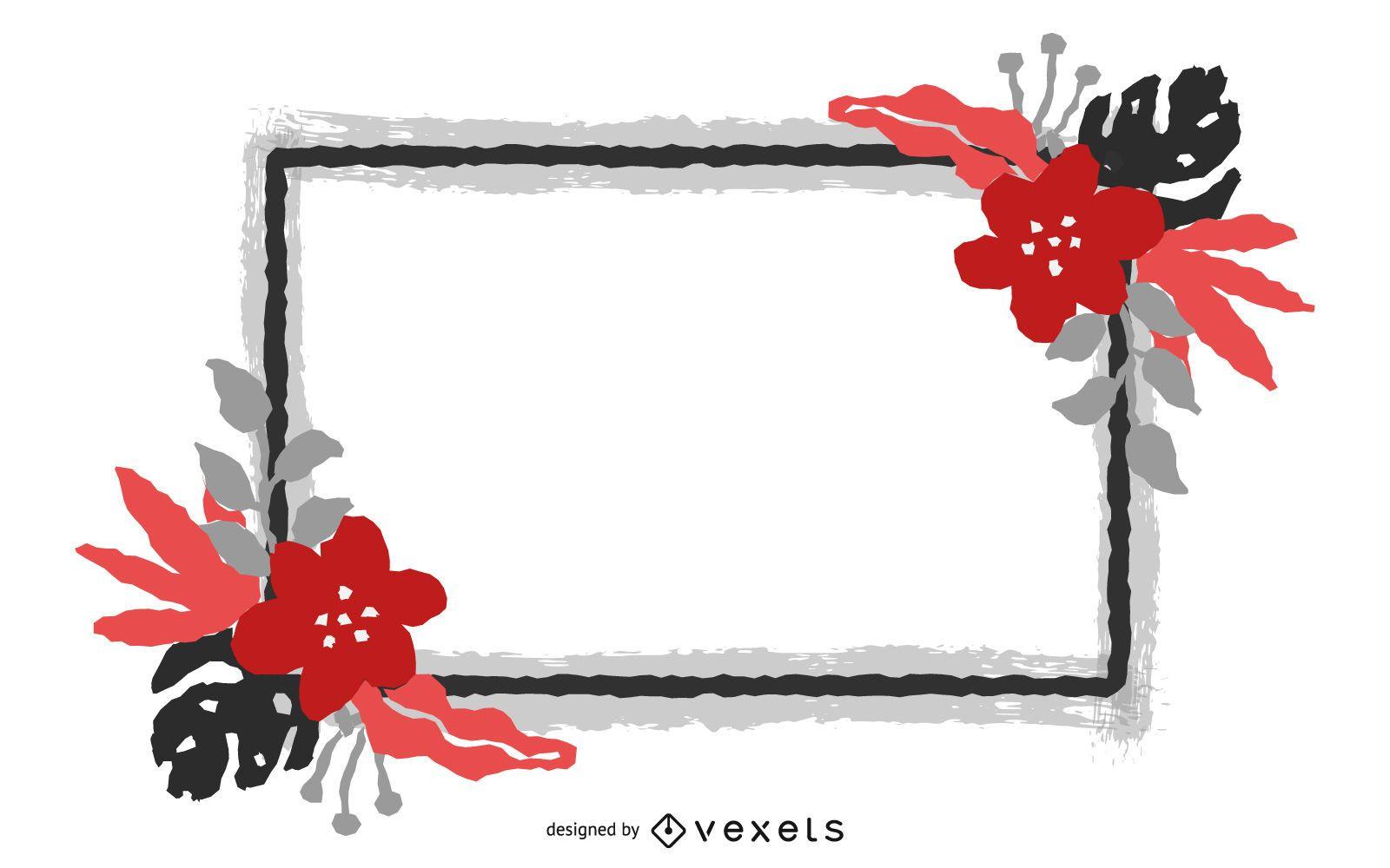Bandera de flor roja cuadrada grungy