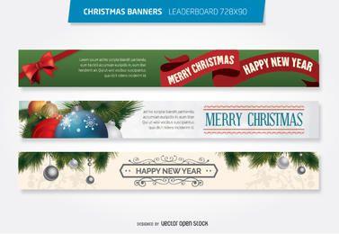 Modelo de banner de cabeçalho de 728 x 90 de Natal