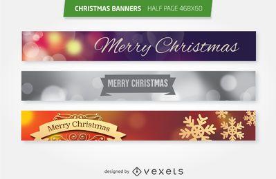 Conjunto de banners publicitarios de media página de Navidad 468x60