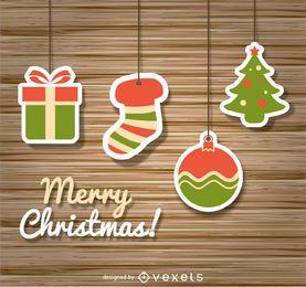 Christmas icons over wood