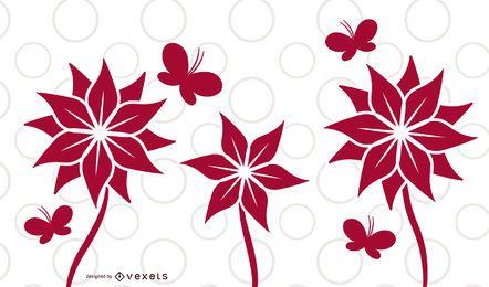 Diseño de tarjeta de mariposa de plantas de flor