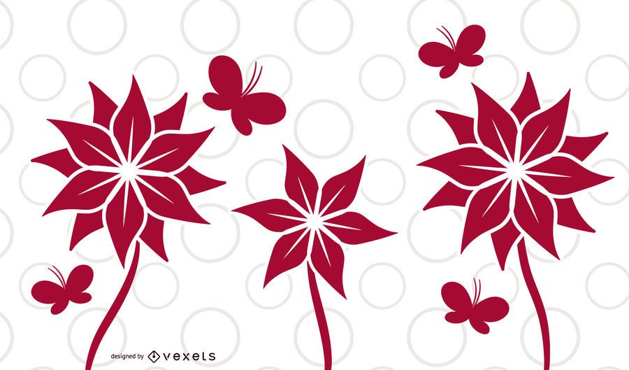 Flower Plants Butterfly Card Design