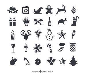 Weihnachtsflache Ikonen eingestellt