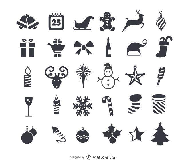 Conjunto de ícones plana de Natal