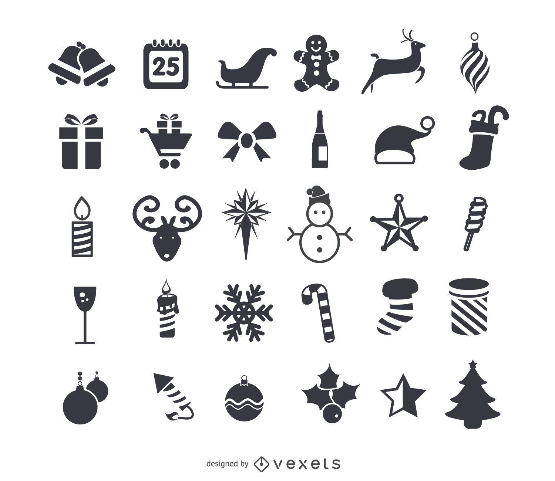 Conjunto de iconos planos de navidad